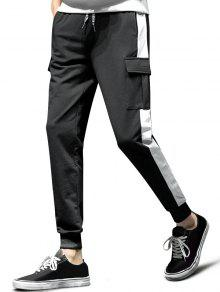 Colorblock تقسم رفرف جيب الرياضة عداء ببطء سروال - أسود S