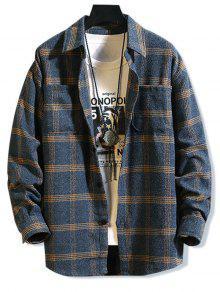قميص نمط منقوشة جيب تصميم بأكمام طويلة - اللازورد الأزرق L