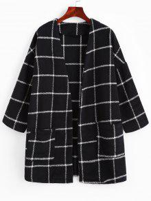 Open Front Plaid Patched Pockets Coat