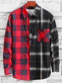نمط منقوشة اللون تقسم القميص عادية - متعددة-a Xl