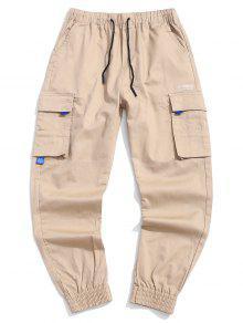 سروال جيب مزين رسالة مطبوعة للشحن - كاكي M