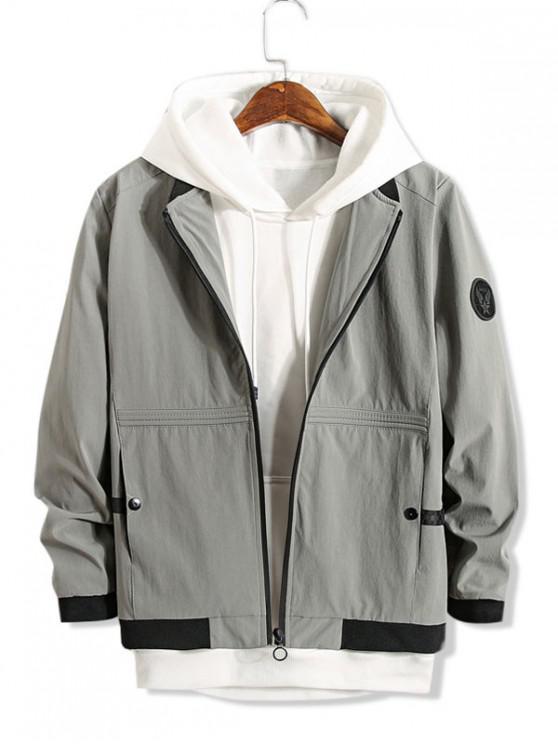 Color de empalmado Zip Up bolsillo de la chaqueta decorada - Gris M