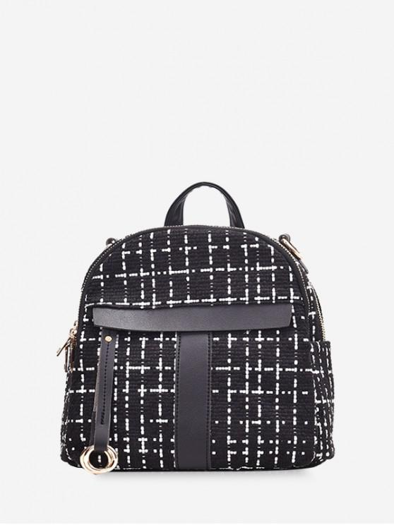 fancy Casual Plaid Pattern Simple Backpack - BLACK