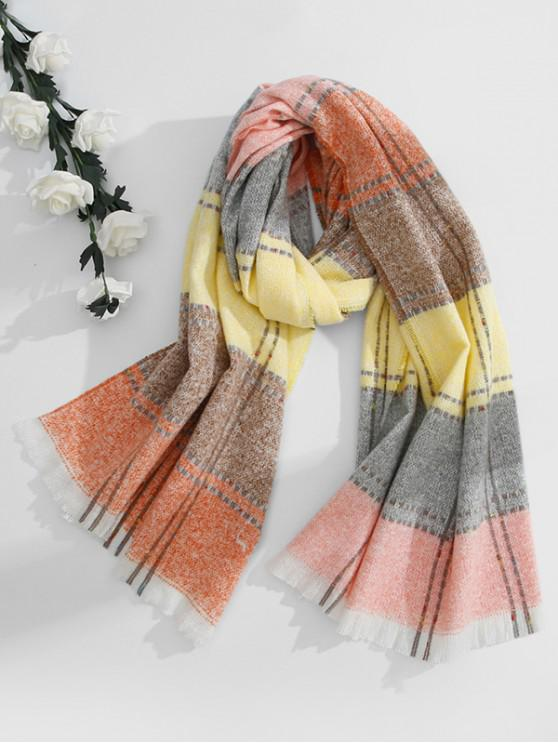affordable Colored Checkered Fringed Long Scarf - PINK