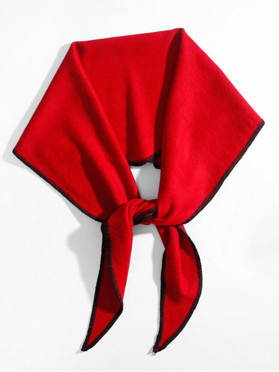 women Solid Faux Cashmere Rhombus Scarf - RED