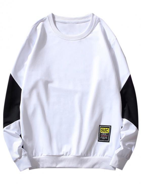 ladies Color Spliced Letter Pattern Sweatshirt - WHITE S