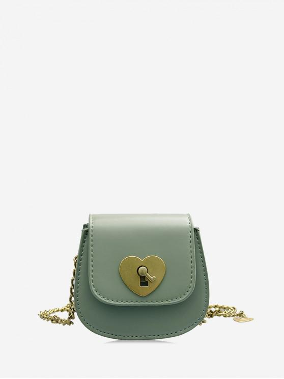lady Chain Heart Key Small Shoulder Bag - DARK SEA GREEN
