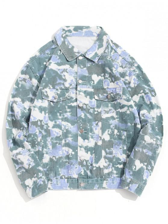 outfits Camo Print Button Up Casual Jacket - GREEN M