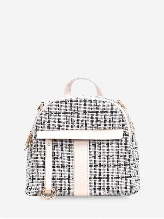 latest Casual Plaid Pattern Simple Backpack - WHITE