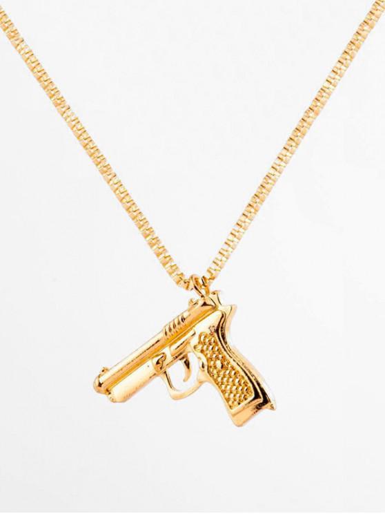 outfit Hip-hop Gun Shape Pendant Necklace - GOLD