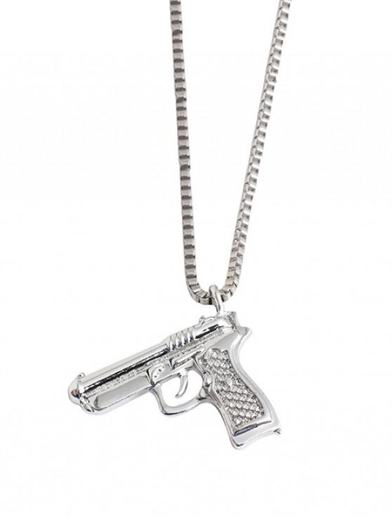 outfit Hip-hop Gun Shape Pendant Necklace - SILVER
