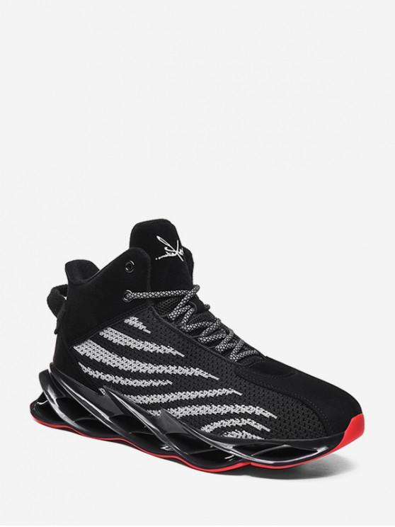 fancy Irregular Stripe Breathable Mesh Basketball Sneakers - BLACK EU 43