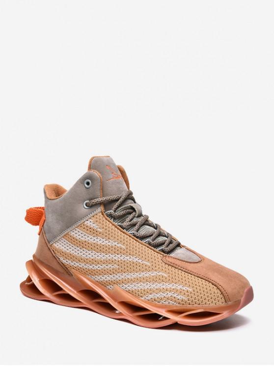 best Irregular Stripe Breathable Mesh Basketball Sneakers - ORANGE EU 44