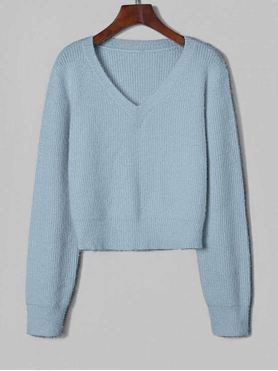 Jersey de punto esponjoso con cuello de pico difuso ZAFUL - Azul Claro XL