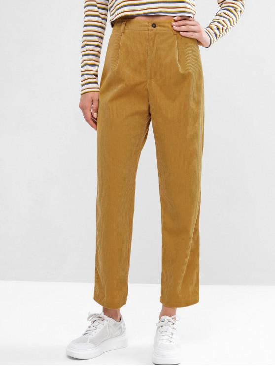 affordable ZAFUL Corduroy Zip Fly High Waisted Pencil Pants - BEE YELLOW XL