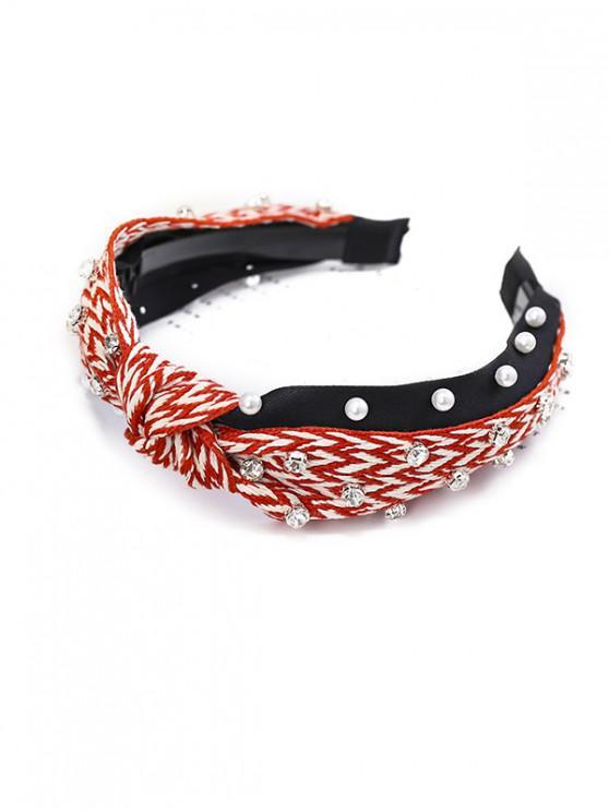 曲折人造珍珠水鑽髮夾 - 紅