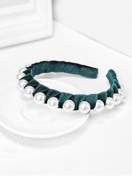 women's Velour Fabric Faux Pearl Hairband - DARK GREEN