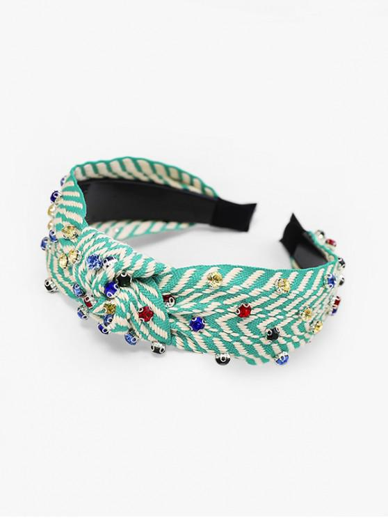 sale Striped Rhinestone Wide Hairband - GREEN