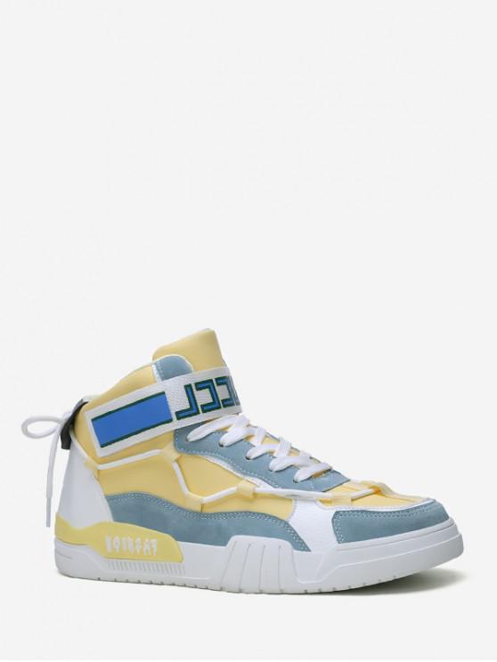 online Color-blocking Hook Loop High Top Skate Shoes - YELLOW EU 44