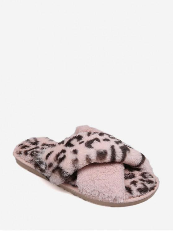 women's Leopard Print Criss-cross Faux Fur Flat Shoes - PINK EU 39