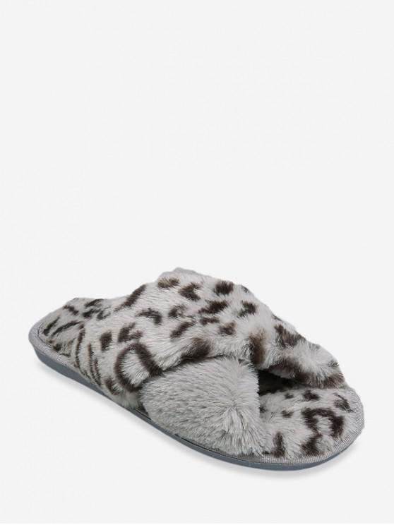 shop Leopard Print Criss-cross Faux Fur Flat Shoes - GRAY EU 39