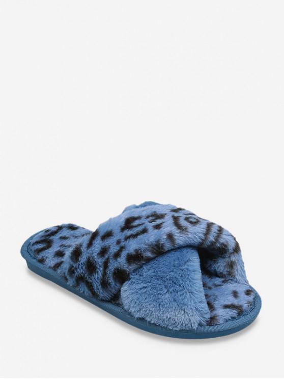 พิมพ์เสือดาว Criss ข้ามรองเท้าขน Faux แบน - สีน้ำเงิน สหภาพยุโรป 38