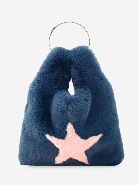 trendy Fuzzy Star Pattern Handbag - PEACOCK BLUE