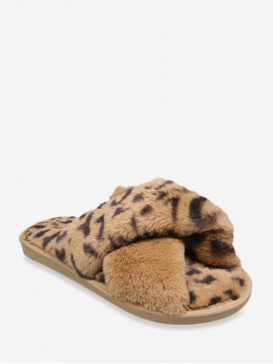 buy Leopard Print Criss-cross Faux Fur Flat Shoes - BROWN EU 37