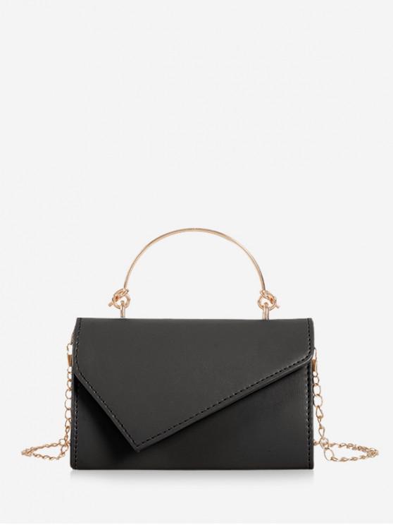 fashion Solid Chain Irregular Shoulder Bag - BLACK