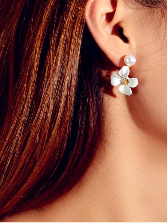 new Floral Faux Pearl Dangle Earrings - WHITE