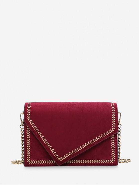 women's Ear of Wheat Line Cover Shoulder Bag - RED WINE