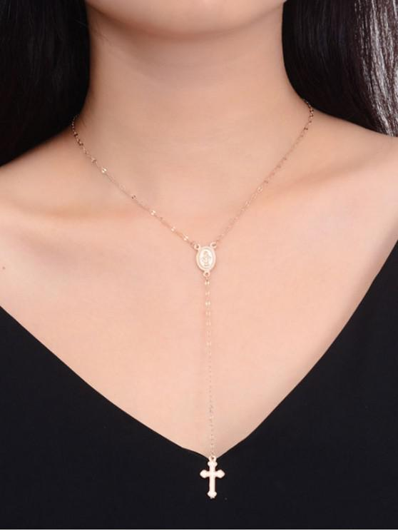 outfits Cross Pendant Y Shaped Necklace - GOLD