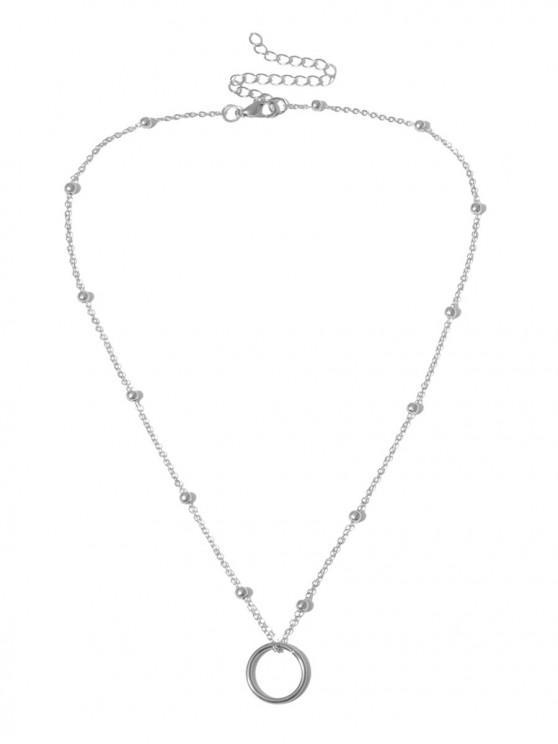 Círculo clavícula del collar con cuentas pendientes - Plata