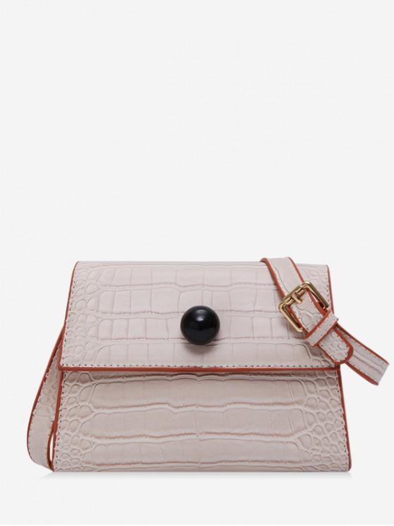 womens Embossed Cover Shoulder Bag - WHITE