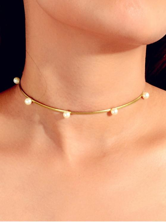 ladies PU Leather Faux Pearl Embellished Choker Necklace - GOLD