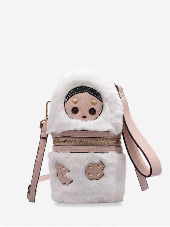 outfit Doll Face Bucket Fuzzy Shoulder Bag - PINK