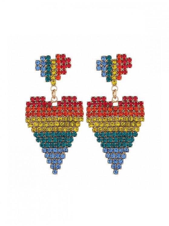 outfits Double Rhinestone Heart Drop Earrings - MULTI