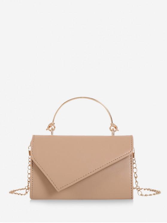 trendy Solid Chain Irregular Shoulder Bag - KHAKI