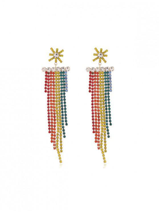 online Colorful Long Rhinestone Chain Earrings - MULTI