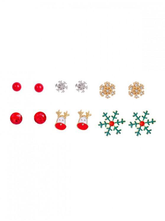 6 pares Pendientes del copo de nieve de Navidad - Multicolor