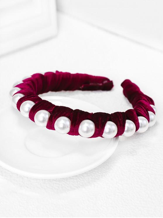 Terciopelo Tela perlas de imitación Hairband - Rojo