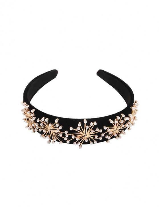 Artificial perla Hairband - Negro