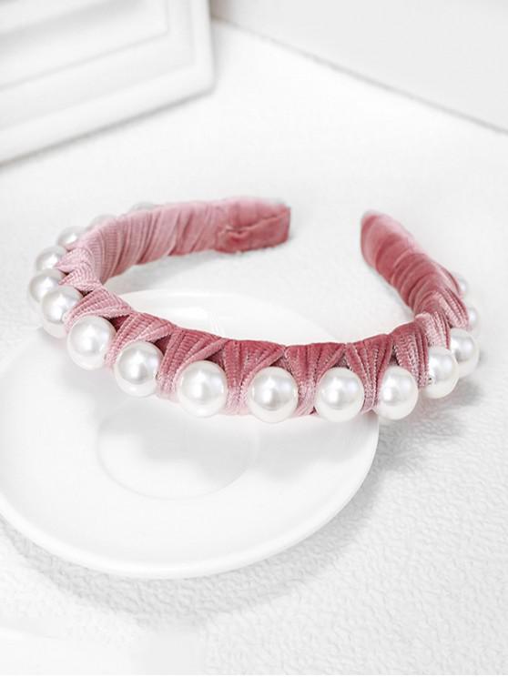 Terciopelo Tela perlas de imitación Hairband - Rosado