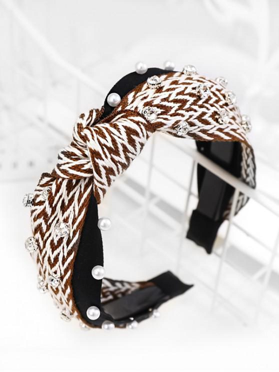 outfit Zigzag Faux Pearl Rhinestone Hairband - COFFEE