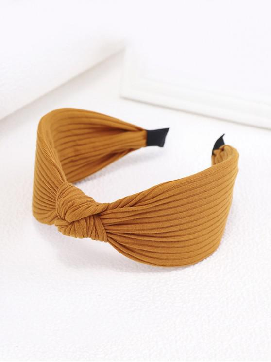 shop Knot Fabric Striped Wide Hairband - GOLDEN BROWN