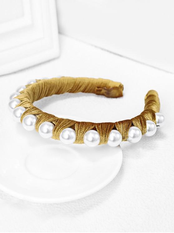 絲絨面料人造珍珠發帶 - 黃色