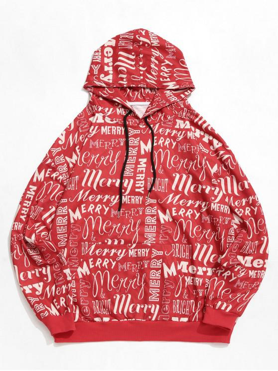 fashion ZAFUL Letter Graphic Front Pocket Drawstring Hoodie - RED M