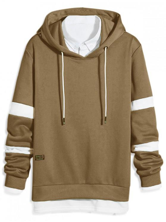 outfit Color Blocking Spliced Slit Letter Print Drawstring Hoodie - CAMEL BROWN M
