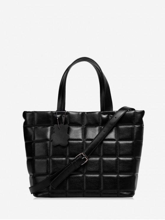 latest Dark Pattern Grid Leather Big Tote Bag - BLACK