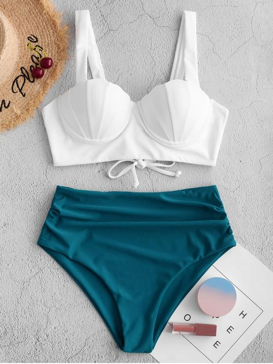 new ZAFUL Push Up Ruched Shell Tankini Swimsuit - PEACOCK BLUE 2XL